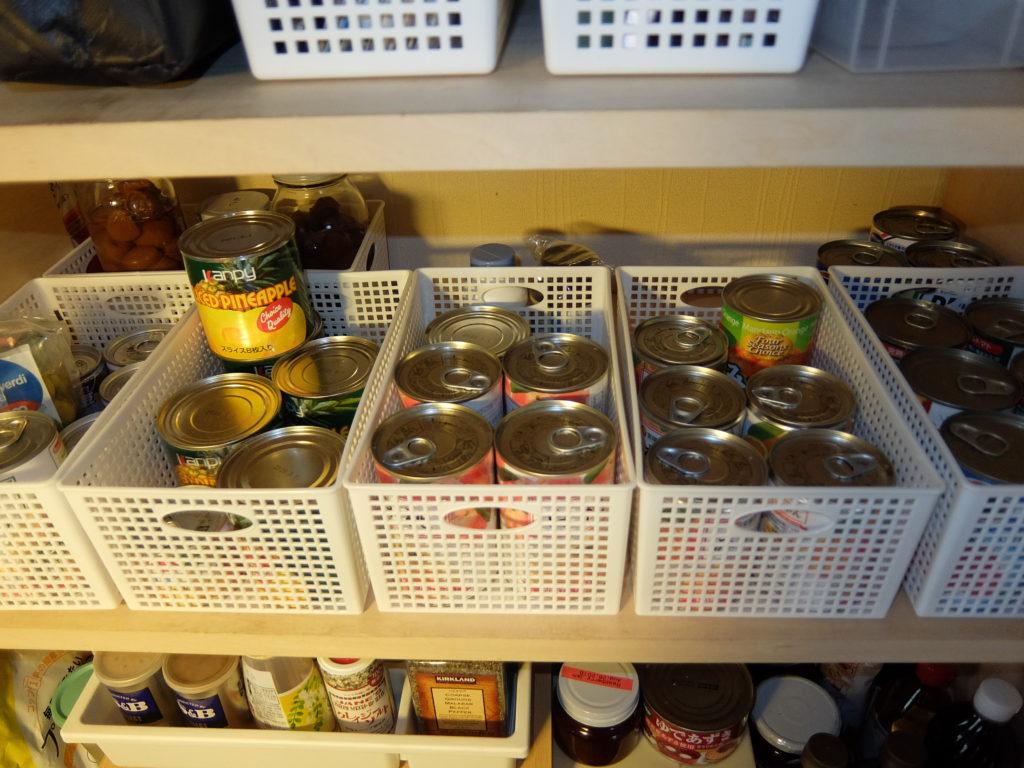 ビフォーアフター 食品庫 片付け後 缶詰の収納 百均かご活用