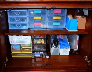 ビフォーアフター リビング収納 片付け途中 手持ちの収納用品で整理整頓中